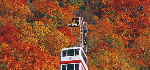 紅葉に浮かぶ2階建ゴンドラ